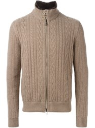 Loro Piana Fur Trimmed Cardigan Nude And Neutrals