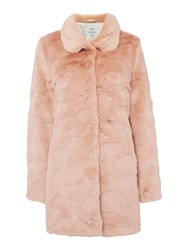 Ruby Ed Faux Fur Collar Coat Pink