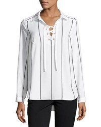 Kensie Lace Up Striped Shirt White