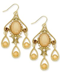 Inc International Concepts Gold Tone Stone And Pave Ornate Chandelier Earrings Only At Macy's