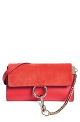 Chloe Women's Mini Faye Suede And Leather Wallet On A Chain