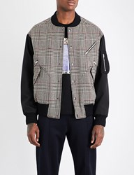 Stella Mccartney Checked Wool Blend Bomber Jacket Beige Multi