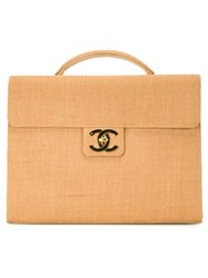 Chanel Vintage Raffia Briefcase Brown
