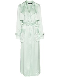 Michael Lo Sordo Belted Silk Trench Coat Green