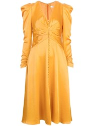 Jonathan Simkhai Ruched Midi Dress Orange