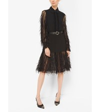 Feather Embroidered Silk Georgette And Point D'esprit Dress Black