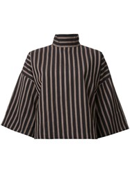 Strateas Carlucci Striped Turtleneck T Shirt Brown