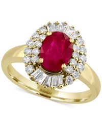 Effy Amore By Certified Ruby 1 3 8 Ct. T.W. And Diamond 1 2 Ct. T.W. Statement Ring In 14K Gold Yellow Gold