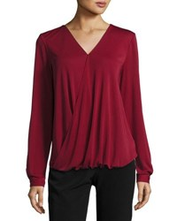 Tahari By Arthur S. Levine Long Sleeve Blouson Blouse Wine