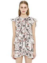 Isabel Marant Floral Printed Gauze Ruffled Top