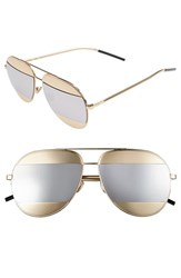 Women's Christian Dior 'Split' 59Mm Aviator Sunglasses Rose Gold Sup Silver Mirror