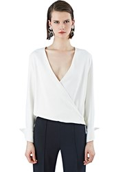 Pre Ss16 Agnona Wrap Over Draped Shirt White