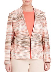 Basler Plus Size Textured Print Blazer Orange Multicolor