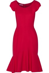 Oscar De La Renta Wool Blend Dress Crimson