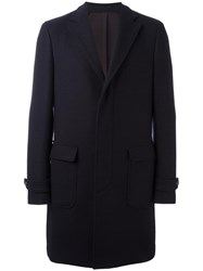 Salvatore Ferragamo Single Breasted Check Coat Blue