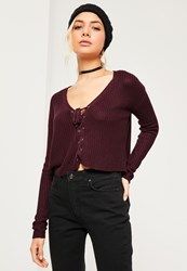 Missguided Burgundy Slouchy Knitted Cropped Lace Up Jumper
