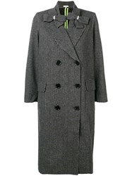 Manoush Double Breasted Check Coat Grey