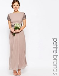 Maya Petite Cap Sleeve Maxi Dress With Embellished Waist Detail Mauve Pink