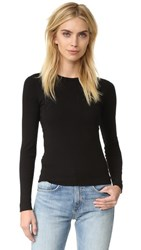 Three Dots Long Sleeve Crew Tee Black