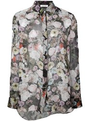 Adam By Adam Lippes Sheer Floral Blouse Black Floral