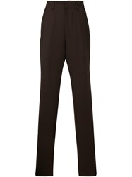 E. Tautz Pleated Terry Trousers Brown