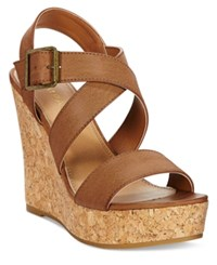 Rampage Happy Platform Wedge Sandals Women's Shoes Cognac