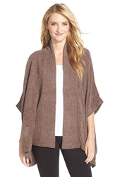 Women's Natori 'Holly' Chenille Open Front Cardigan Taupe