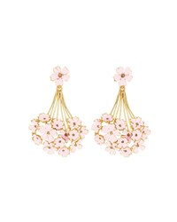 Oscar De La Renta Painted Geranium Drop Earrings Pink