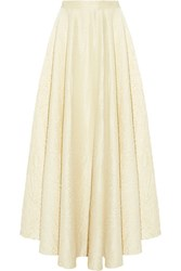 The Row Lea Fluted Crinkled Wool Blend Maxi Skirt Cream