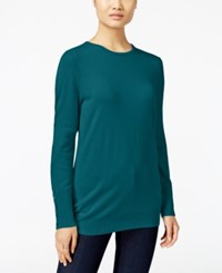 Jm Collection Crew Neck Button Cuff Sweater Only At Macy's Teal Abyss