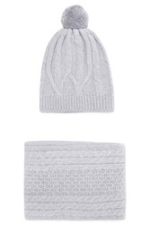 Chinti And Parker Cable Knit Merino Wool Scarf Beanie Set Gray