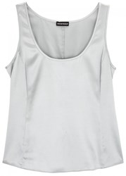 Emporio Armani Light Grey Stretch Silk Satin Tank