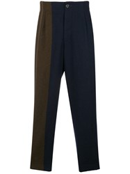 Uma Wang Patchwork Effect Tapered Trousers Blue