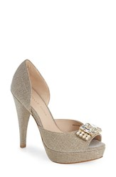 Women's Pelle Moda 'Vaughn' Open Toe Pump Platinum Gold Fabric