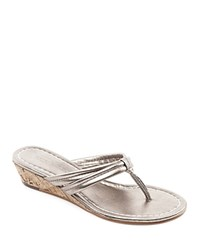 Bernardo Miami Metallic Cork Wedge Thong Sandals Platinum