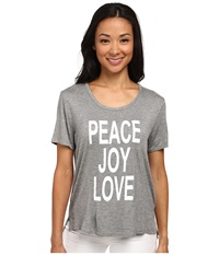 Cj By Cookie Johnson Peace Love Joy Short Sleeve Tee Heather Grey Women's T Shirt Gray