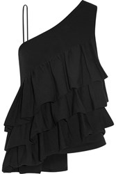 Co One Shoulder Ruffled Stretch Knit Top Black