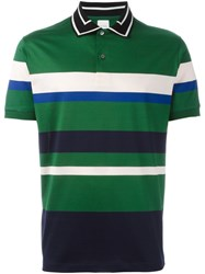Paul Smith Contrasting Collar Striped Polo Shirt Green