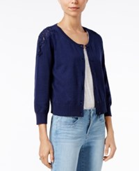 Maison Jules Lace Trim Cardigan Only At Macy's Blu Notte