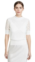Goen.J Lace Embroidered Crochet Knit Top Ivory
