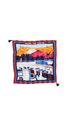 Tory Burch Above The Clouds Silk Square Scarf Red