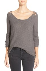 Junior Women's Rip Curl 'Carefree' Open Knit Pullover Grey