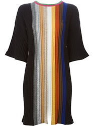Marco De Vincenzo Cable Knit Striped Long Sweater Black