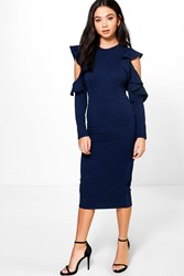 Boohoo Erin Frill Sleeve Cold Shoulder Tailored Dress Navy