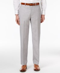 Sean John Men's Classic Fit Silver And Gray Sharkskin Dress Pants Silver Gray