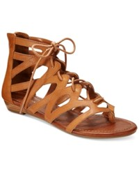 Rampage Santini Flat Gladiator Sandals Women's Shoes Cognac