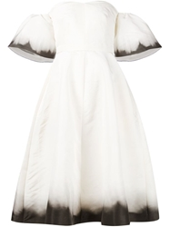Vika Gazinskaya Dropped Shoulder Flounce Dress White