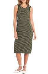 Michael Stars Women's Layered Knit Tank Dress Olive Moss