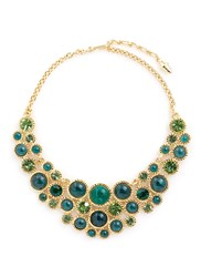 Kenneth Jay Lane Glass Crystal Cabochon Gold Plated Necklace Multi Colour
