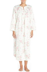 Petite Women's Carole Hochman Designs Satin Long Nightgown Cascading Floral Celladon